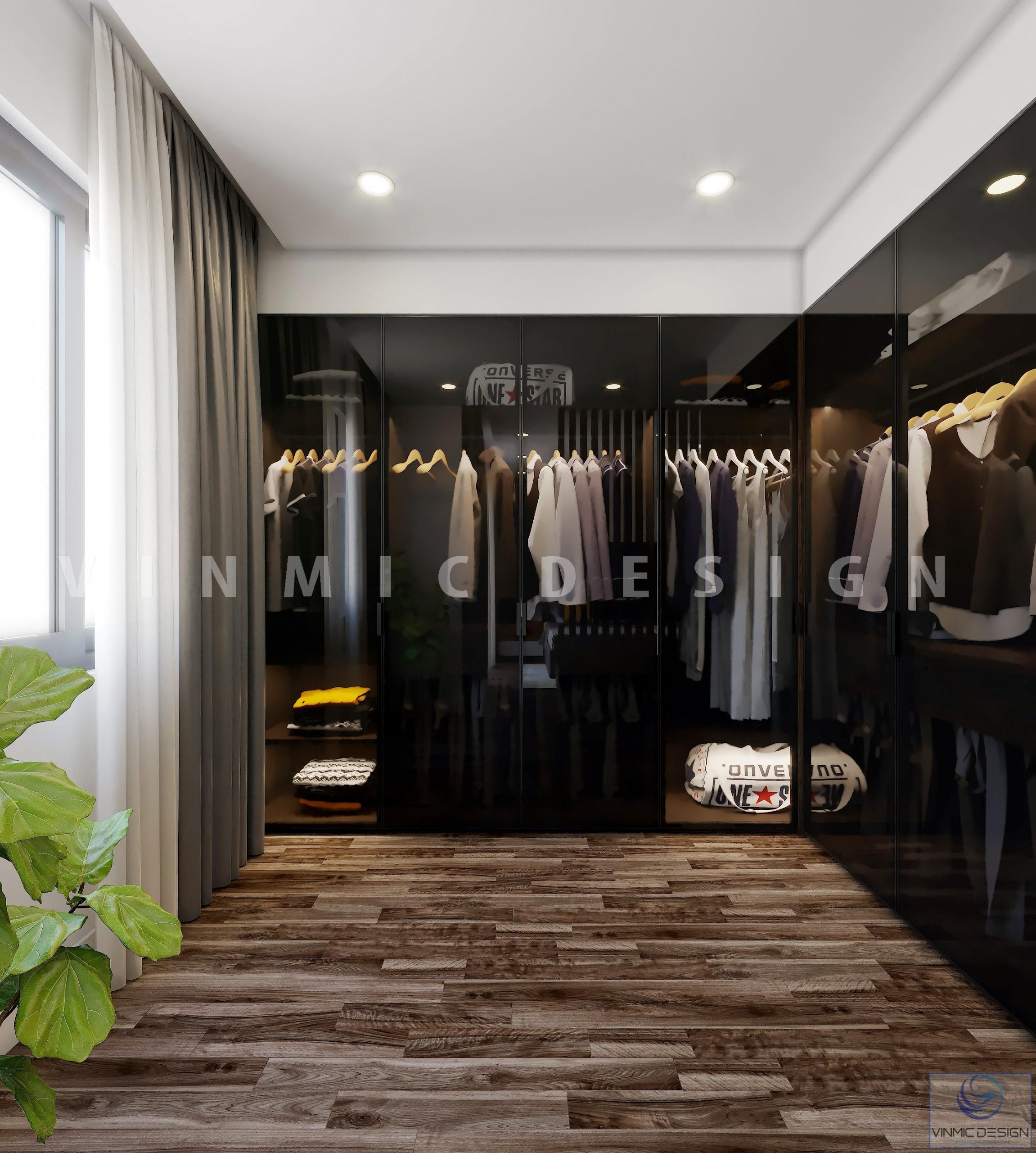 Nổi bật với tủ quần áo hiện đại trong công trình thiết kế nội thất biệt thự tại Hải Phòng