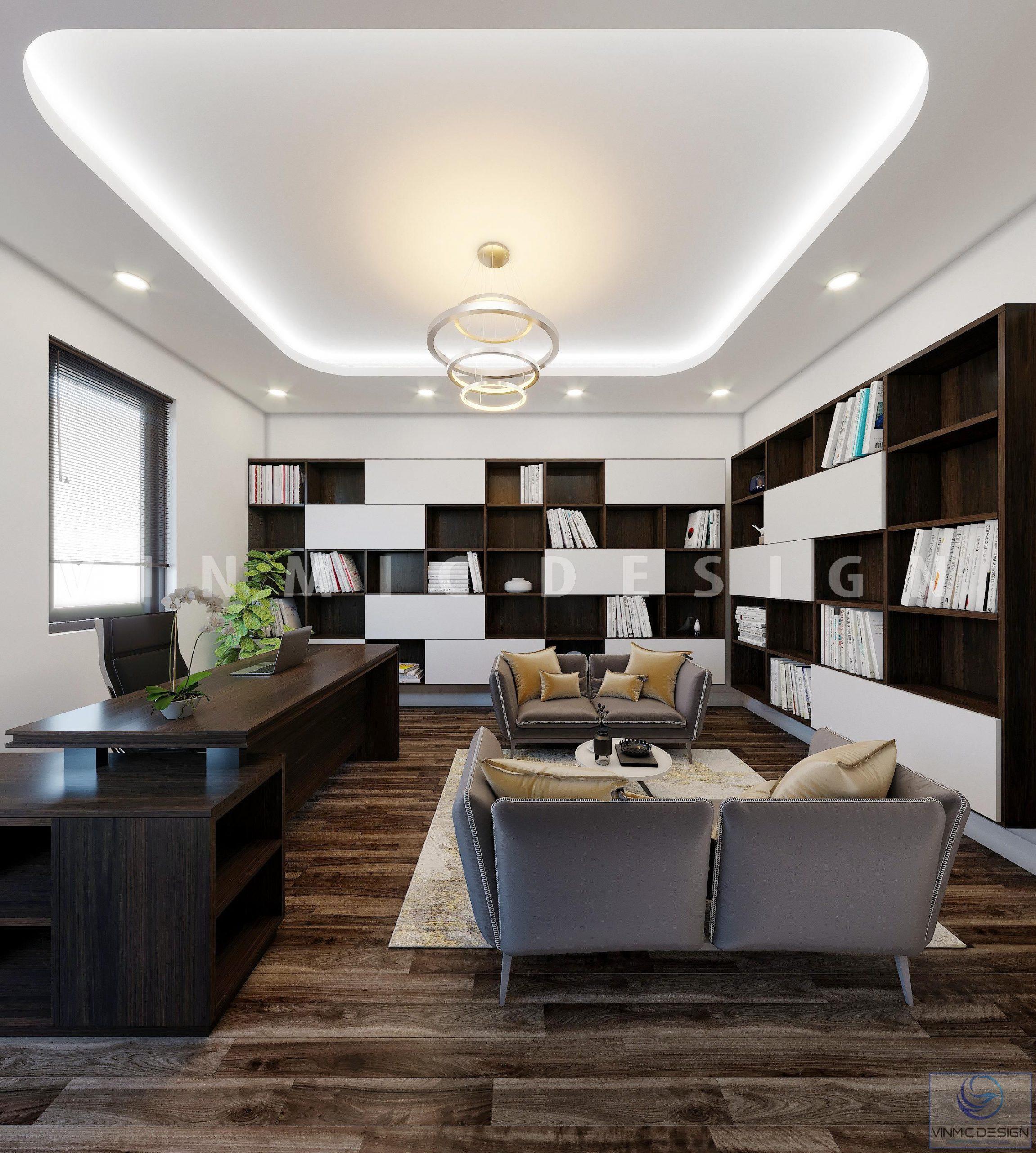 Thiết kế nội thất phòng làm việc hiện đại tại biệt thự Vinhomes Marina Hải Phòng