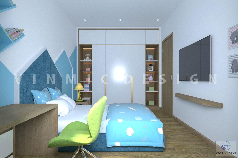 Thiết kế phòng ngủ bé trai với tone màu xanh mát mẻ và kệ tivi,tranh treo tường dễ thương, hệ tủ quần áo kết hợp tủ trang trí tại biệt thự Vinhomes Marina Hải Phòng