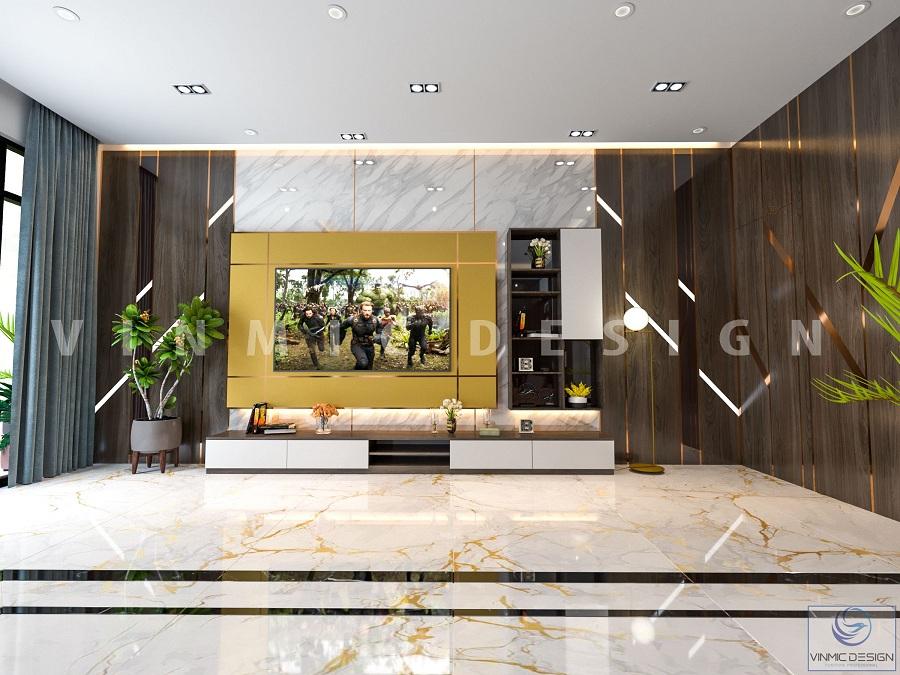 Thiết kế nội thất phòng khách hiện đại với kệ tivi thiết kế đặc biệt tại biệt thự Vinhomes Marina Hải Phòng