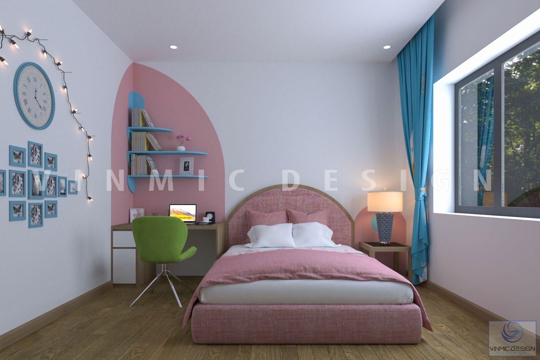 Thiết kế phòng ngủ cho bé gái dễ thương tại biệt thự Vinhomes Marina Hải Phòng