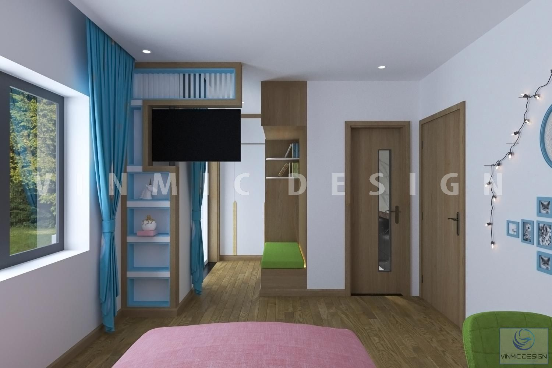 Thiết kế nội thất phòng ngủ tiện nghi cho bé gái tại biệt thự Vinhomes Marina Hải Phòng
