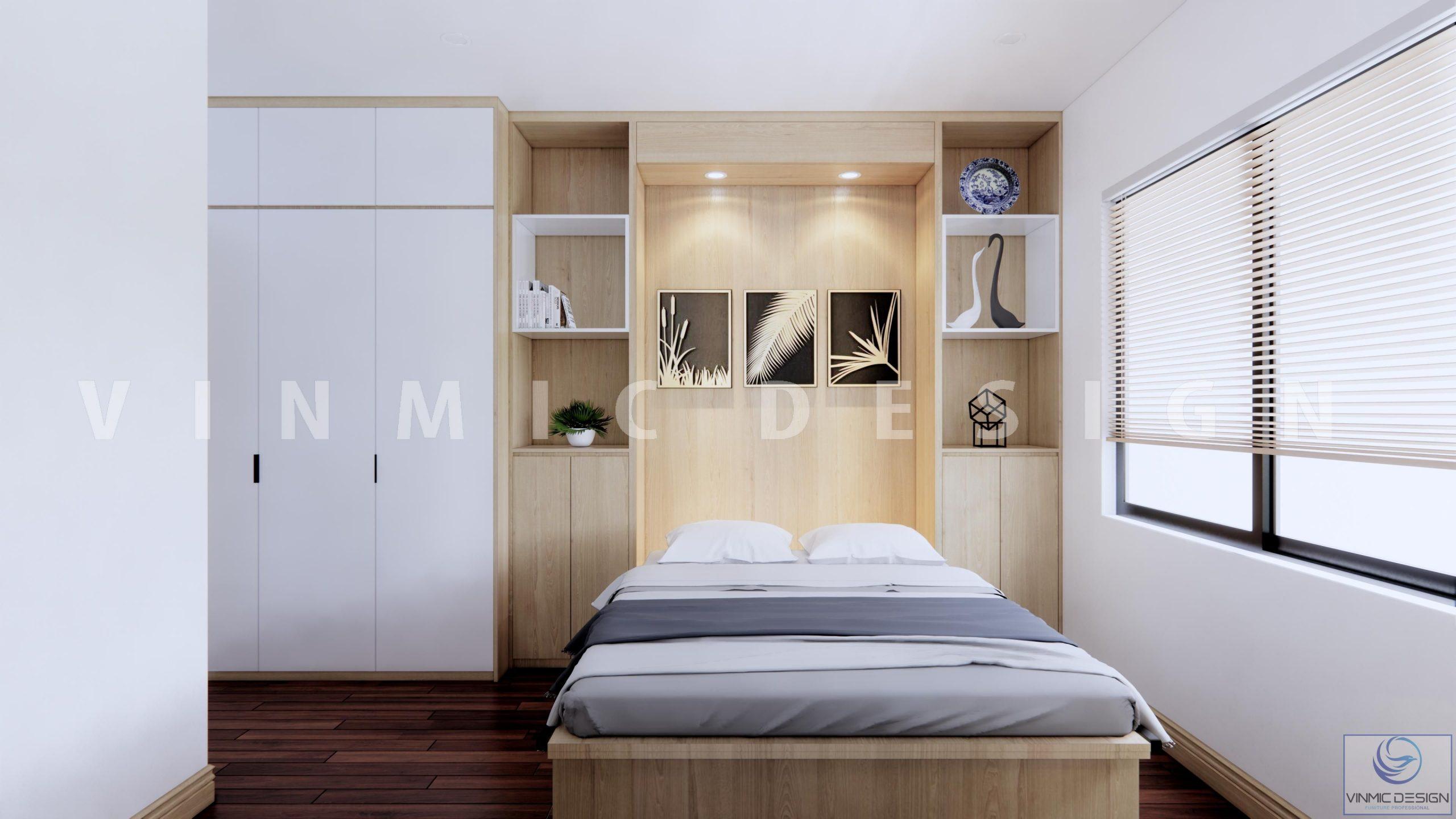 Thiết kế nội thất phòng ngủ cho khách gần gũi, thân thiện tại biệt thự Vinhomes Marina Hải Phòng