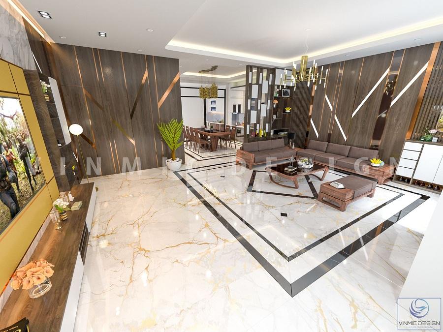 Thiết kế phòng khách hiện đại, sang trọng tại Vinhomes Marina Hải Phòng