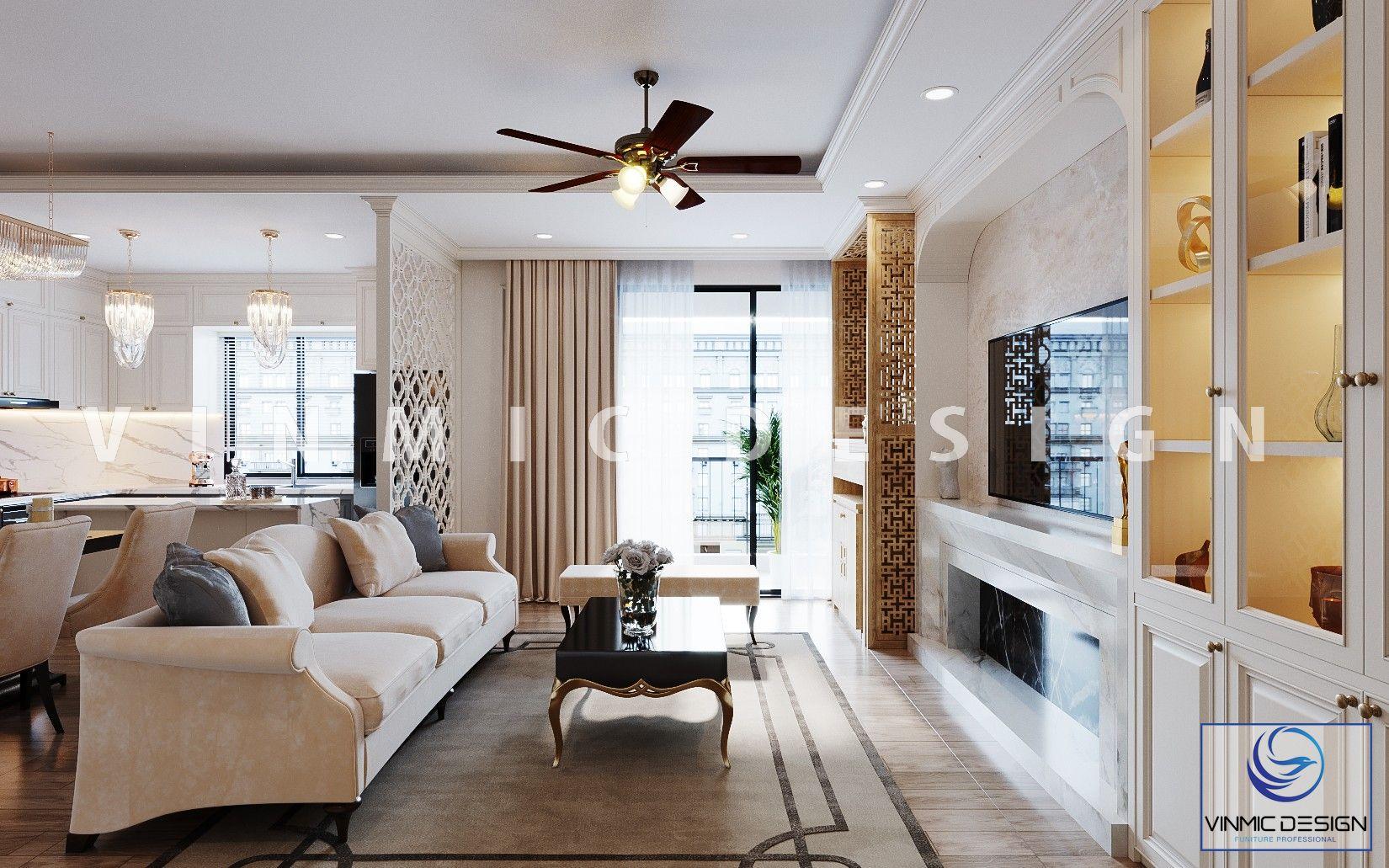 Thiết kế nội thất phòng khách sang trọng mang phong cách tân cổ điển đẹp tại chung cư Imperia Sky Garden
