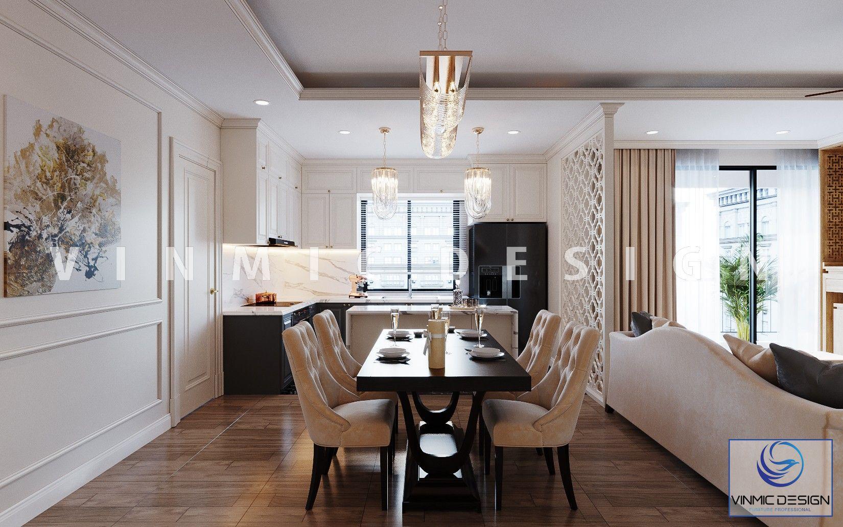 Bộ bàn ghế phong cách tân cổ điển cho những bữa cơm ngon hơn tại chung cư Imperia Sky Garden