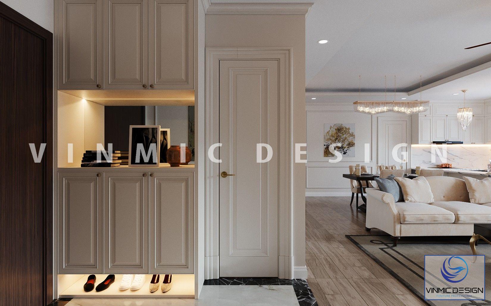 Thiết kế tủ giày đẹp cho căn hộ phong cách tân cổ điển tại Imperia Sky Garden