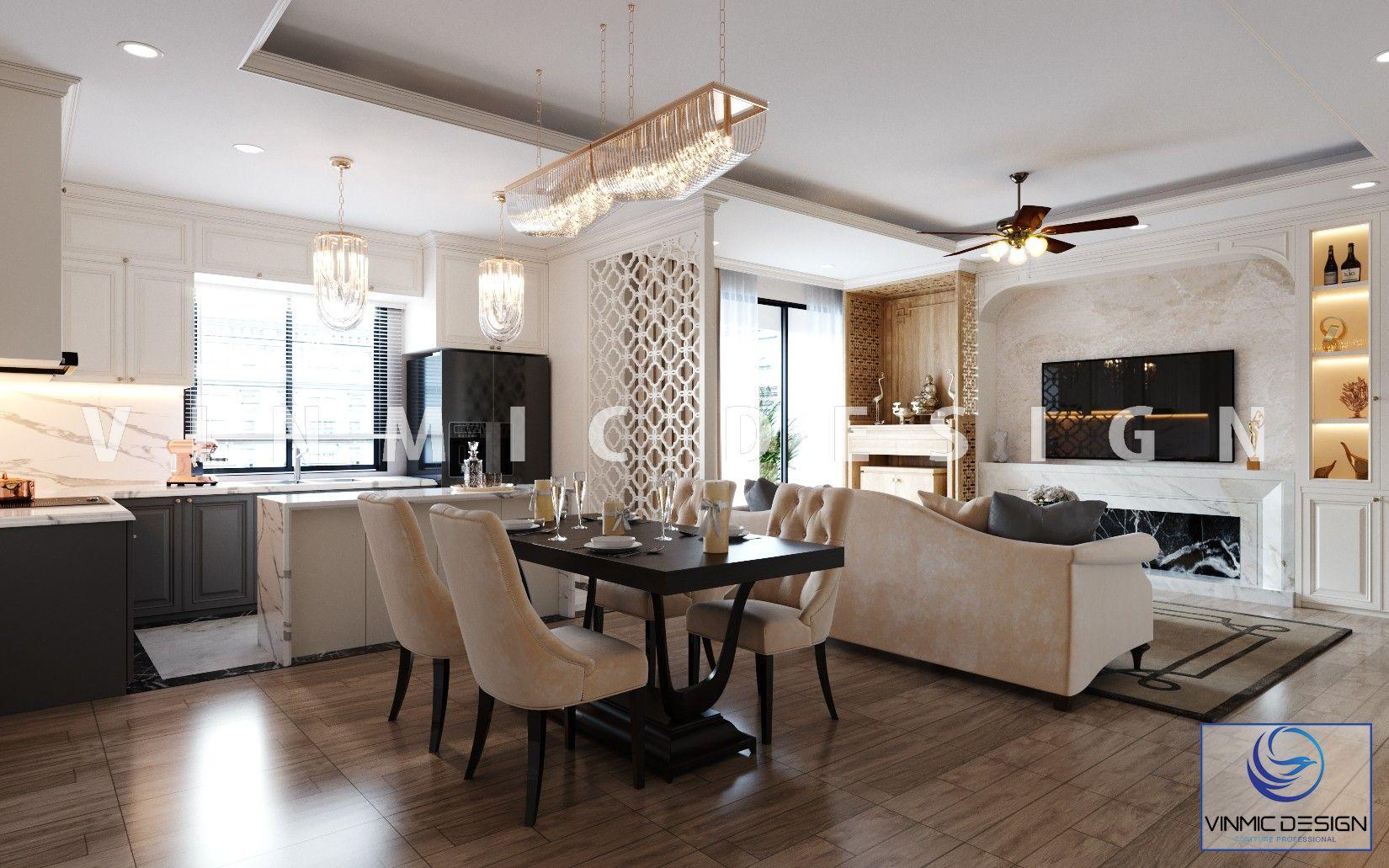 Thiết kế nội thất tone màu kem đẹp tại căn hộ Imperia Sky Garden