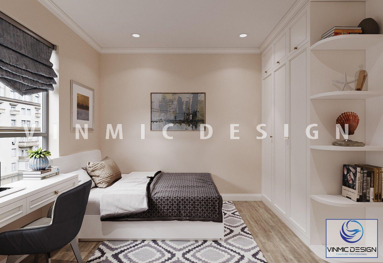 Thiết kế nội thất phòng ngủ đẹp, tủ quần áo kịch trần tại căn hộ Imperia Garden