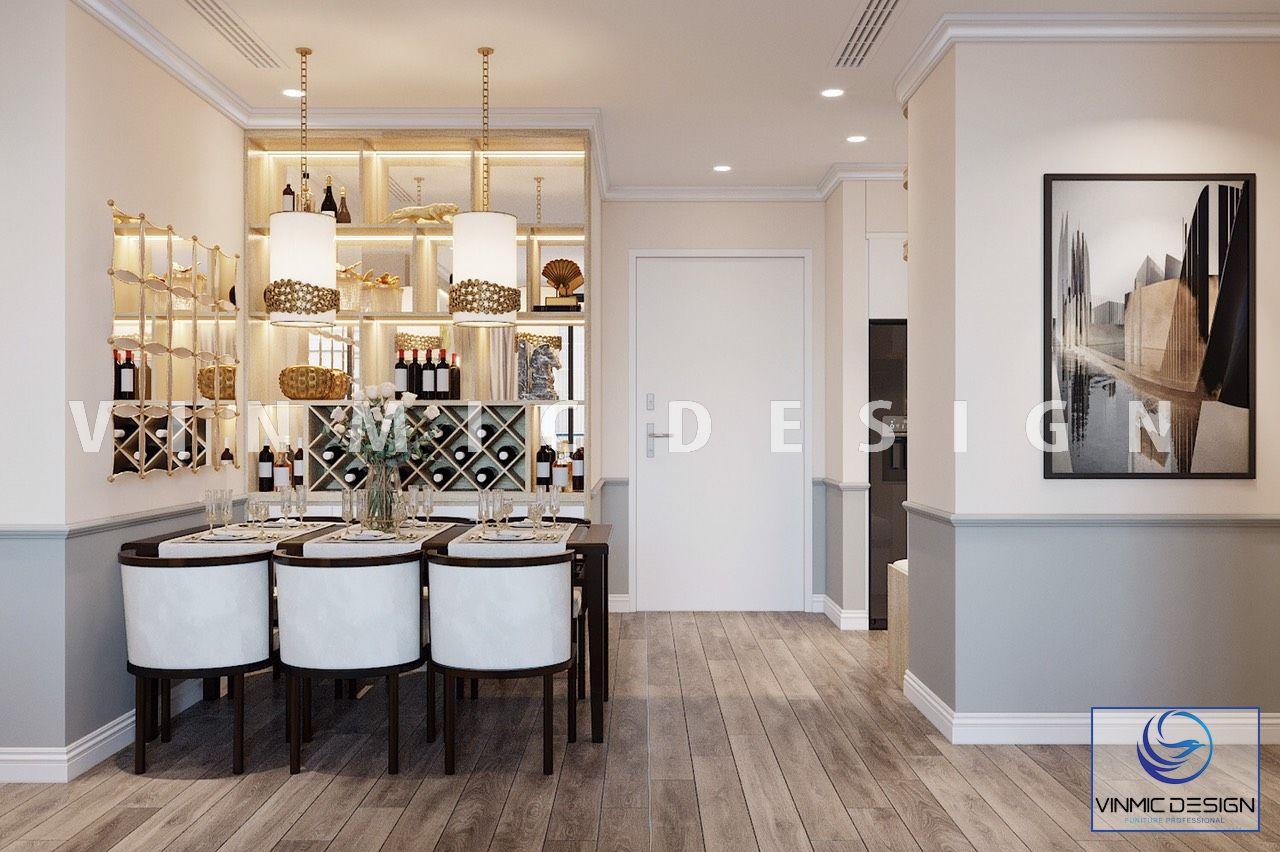 Thiết kế nội thất phòng ăn căn hộ Vinhomes Ocean Park
