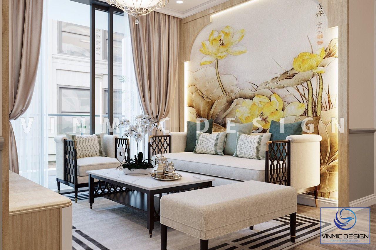 Thiết kế nội thất phòng khách căn hộ Vinhomes Ocean Park sang trọng với bức tranh tường