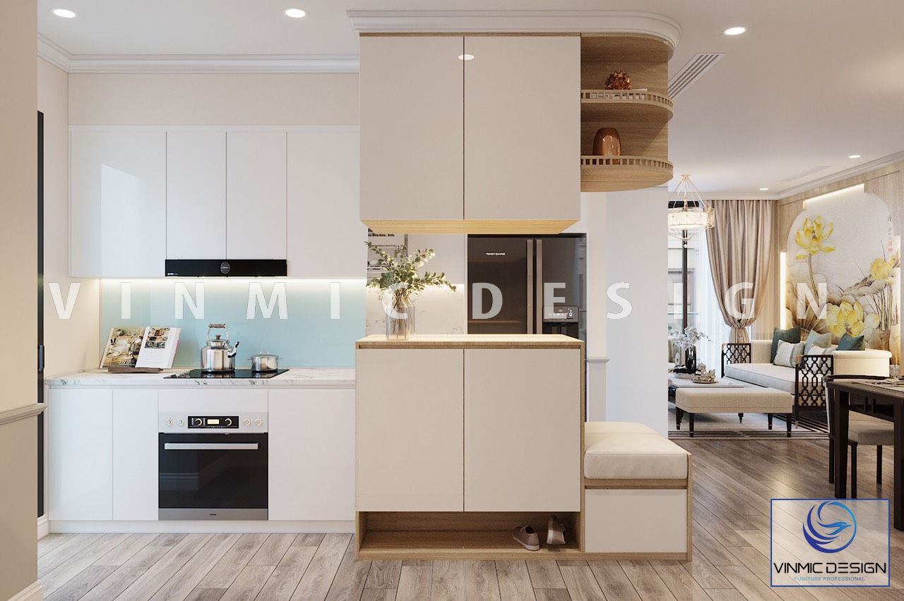 Thiết kế nội thất phòng bếp căn hộ Vinhomes Ocean Park