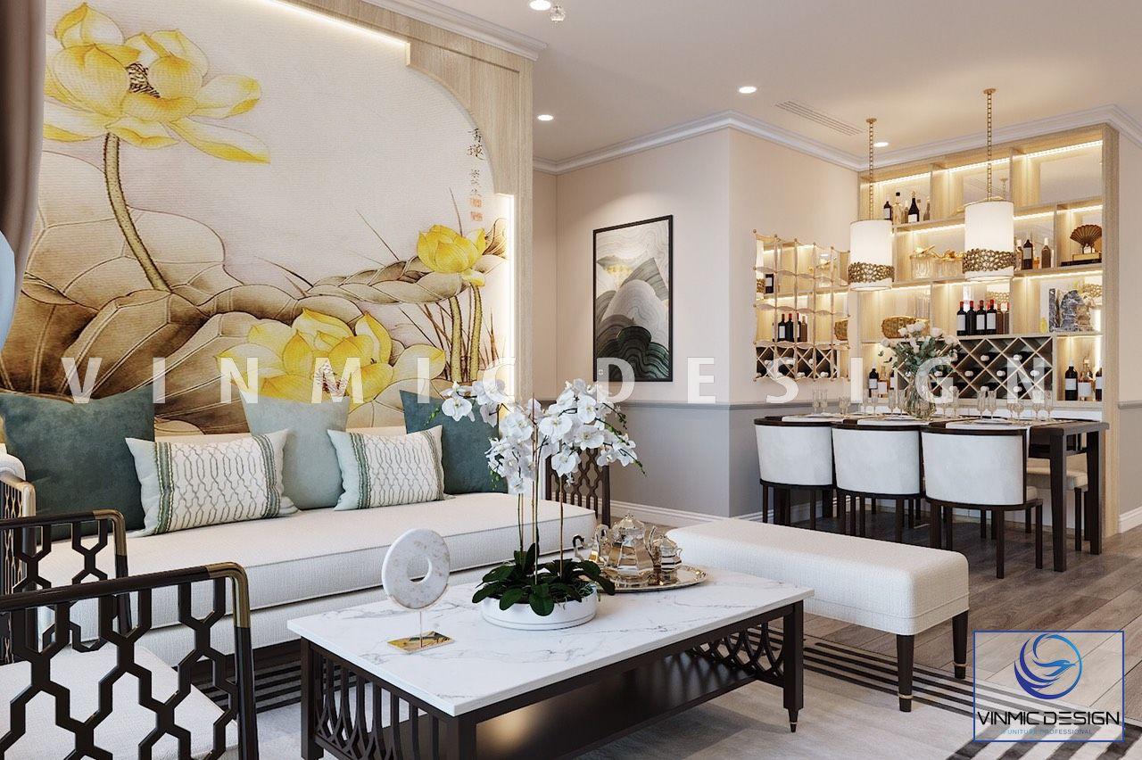 Thiết kế nội thất phòng khách sang trọng cho căn hộ Vinhomes Ocean Park
