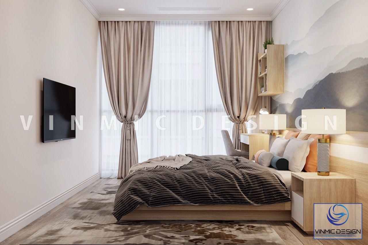 Thiết kế nội thất phòng ngủ hiện đại căn hộ Vinhomes Ocean Park
