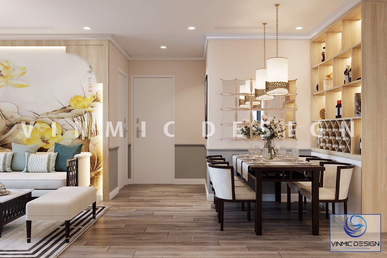 Thiết kế nội thất phòng bếp sang trọng cho căn hộ Vinhomes Ocean Park