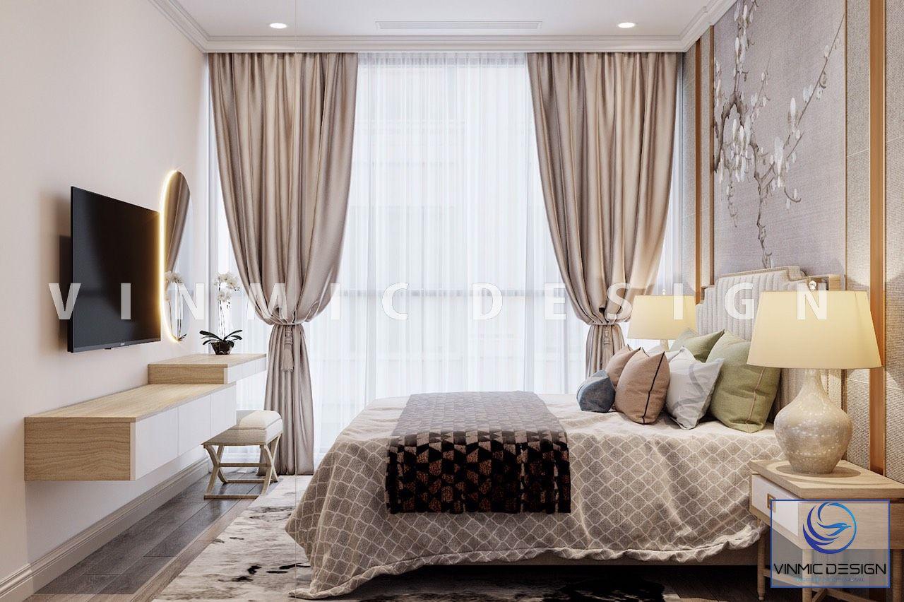 Thiết kế nội thất phòng ngủ được bày trí gọn gàng căn hộ Vinhomes Ocean Park