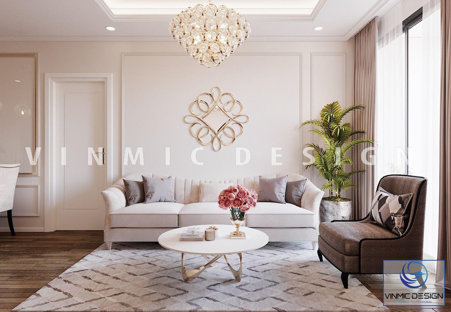 Thiết kế nội thất phòng khách phong cách tân cổ điển đẹp tại chung cư Iris Garden