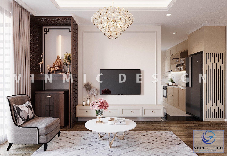 Thiết kế nội thất phòng khách phong cách tân cổ điển sang trọng tại chung cư Iris Garden