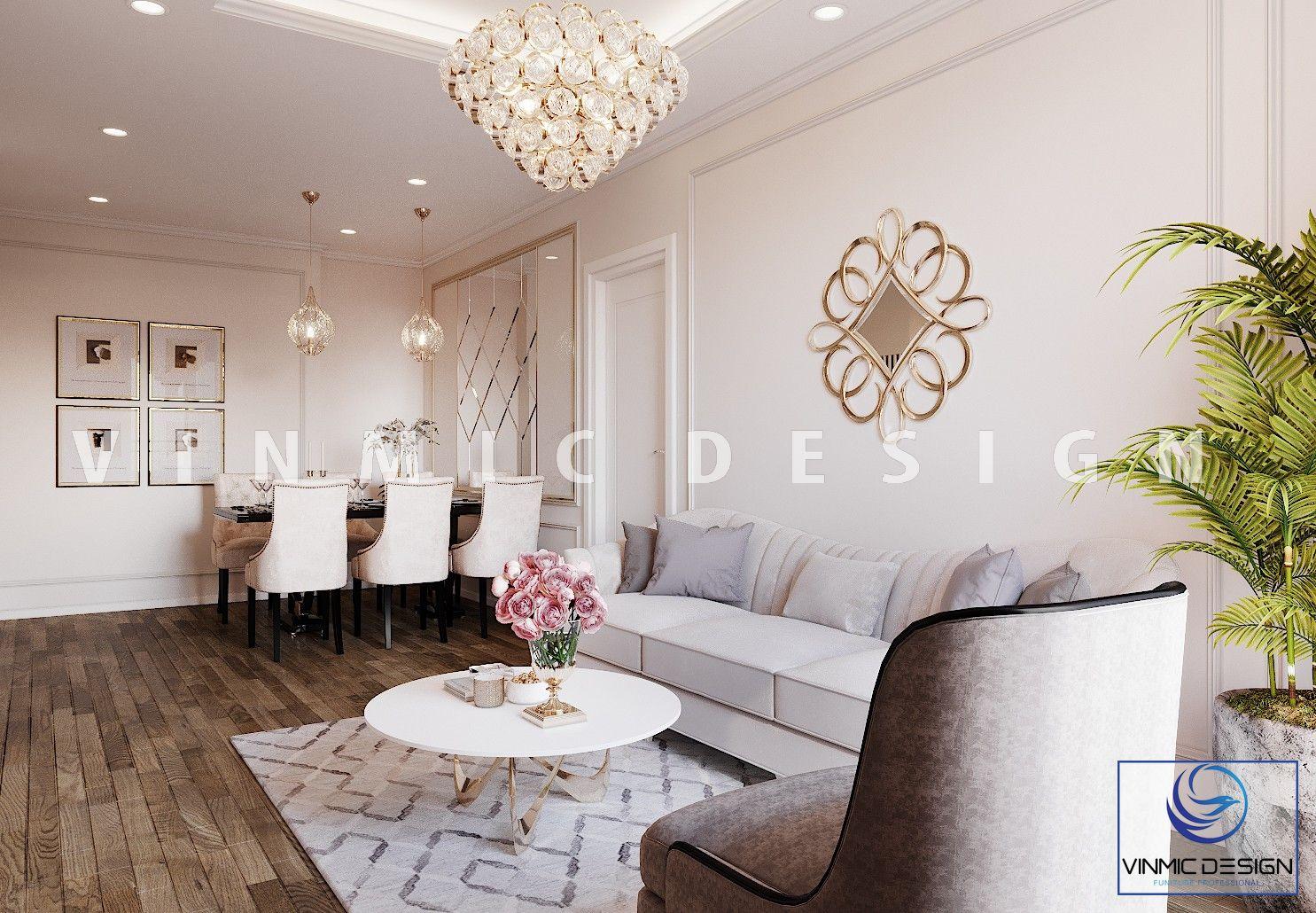 Không gian phòng khách - bàn ăn đẹp tại chung cư Iris Garden