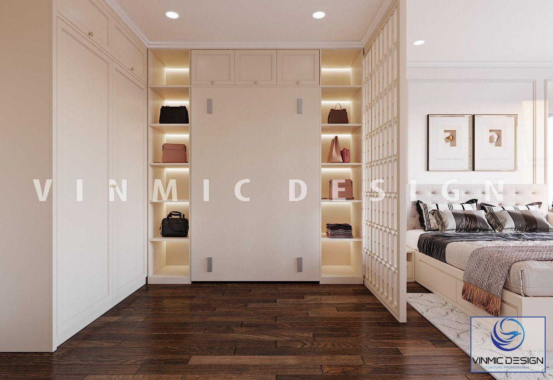 Thiết kế nội thất phòng ngủ master có phòng thay đồ ngăn cách với phòng ngủ với vách ngăn đẹp tại chung cư Iris Garden