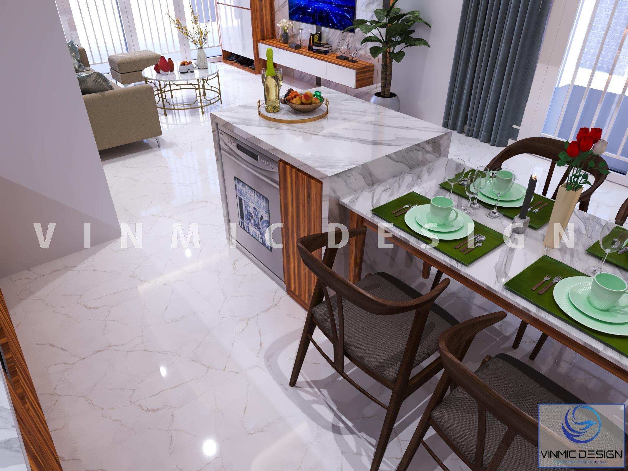 Thiết kế nội thất nhà đẹp với tone màu trắng chủ đạo, kết hợp màu sắc hài hòa tại nhà vườn phố Kim Sơn - Ninh Bình