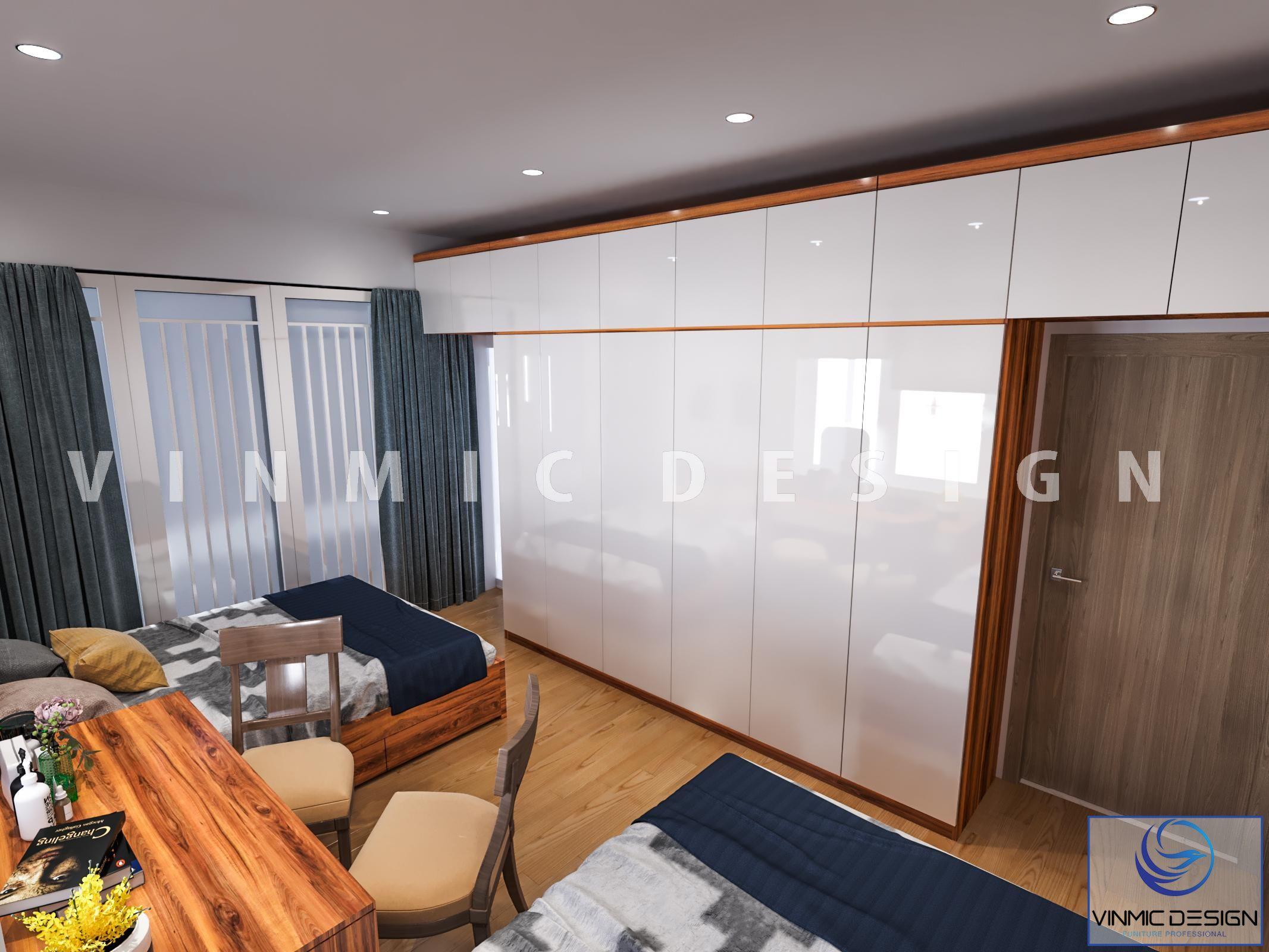 Thiết kế nội thất phòng ngủ với tủ quần áo bề mặt Acrylic sáng bóng tại phố Kim Sơn - Ninh Bình