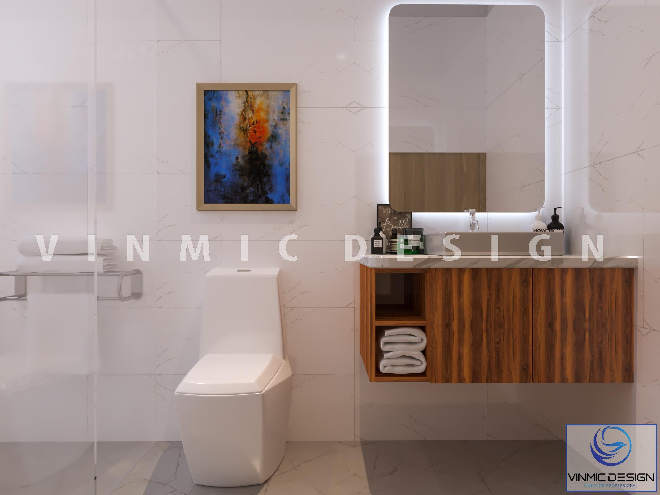 Thiết kế nhà vệ sinh tại phòng ngủ căn nhà vườn phố Kim Sơn - Ninh Bình