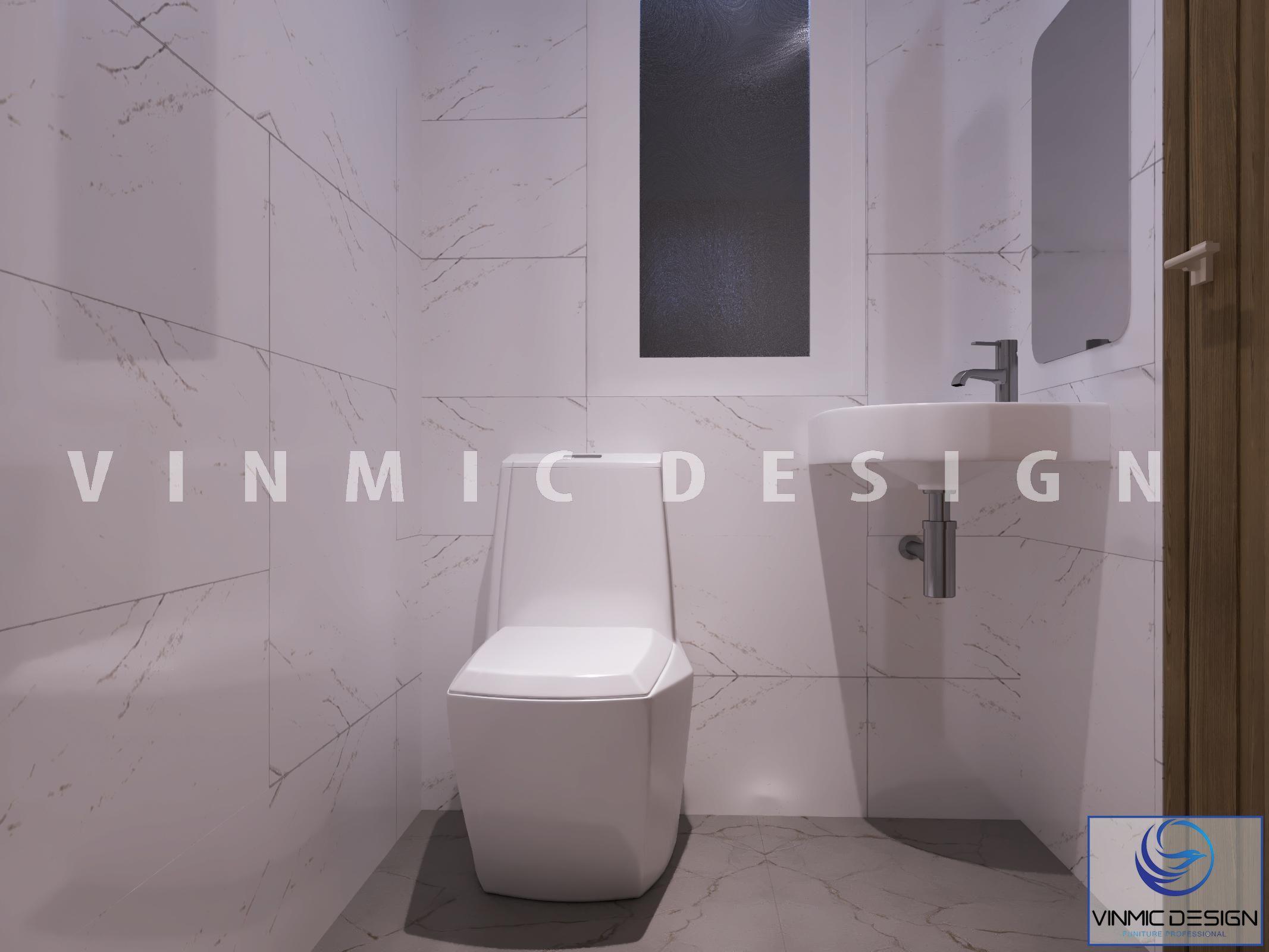 Thiết kế nhà vệ sinh thu nhỏ phù hợp để tiết kiệm không gian nhà vườn tại phố Kim Sơn - Ninh Bình