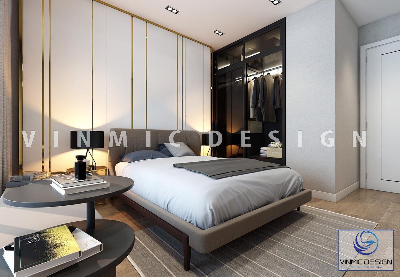 Thiết kế nội thất phòng ngủ master hiện đại nhà chị Linh