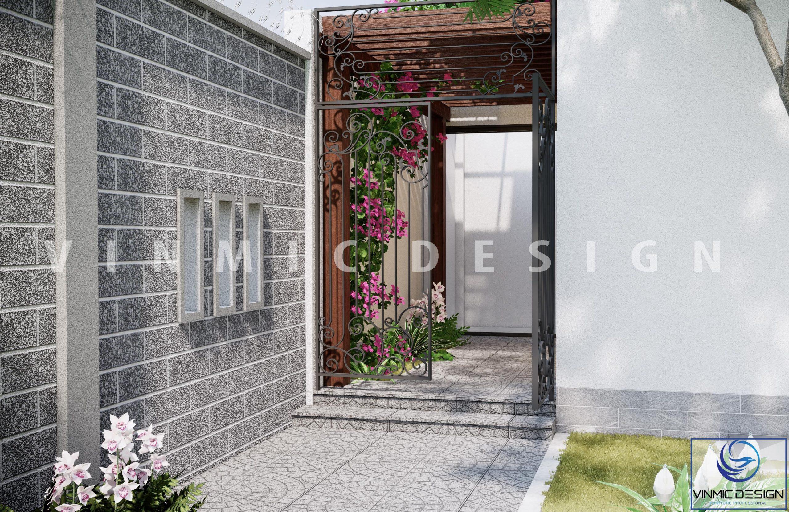 Thiết kế cửa sau tại nhà vườn phố Kim Sơn - Ninh Bình