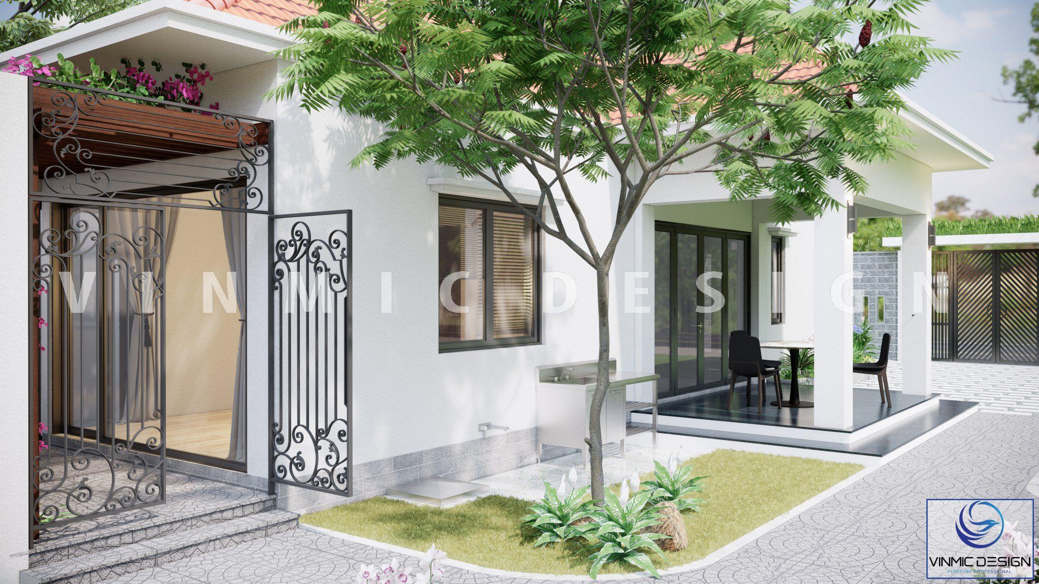 Thiết kế ngoại cảnh căn nhà vườn với cây cối mát mẻ, bình yên tại phố Kim Sơn - Ninh Bình