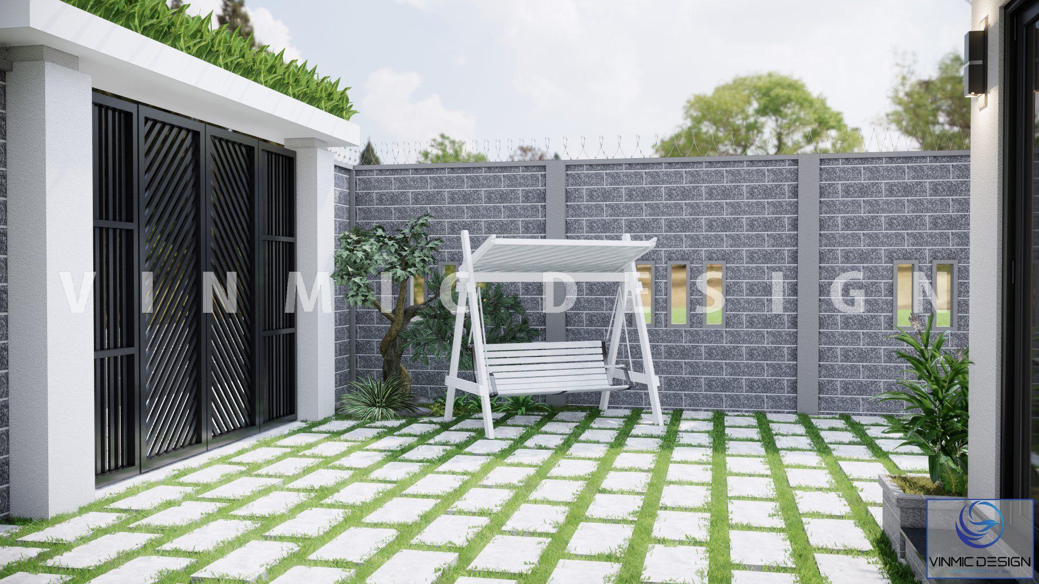 Thiết kế sân bằng loại gạch cao cấp, tone màu trung tính nhẹ nhàng nhưng không kém phần tinh tế tại căn nhà vườn phố Kim Sơn - Ninh Bình