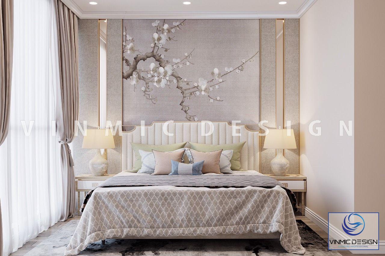 Thiết kế nội thất phòng ngủ master với tone màu kem chủ đạo, nhã nhặn và đầy nghệ thuật