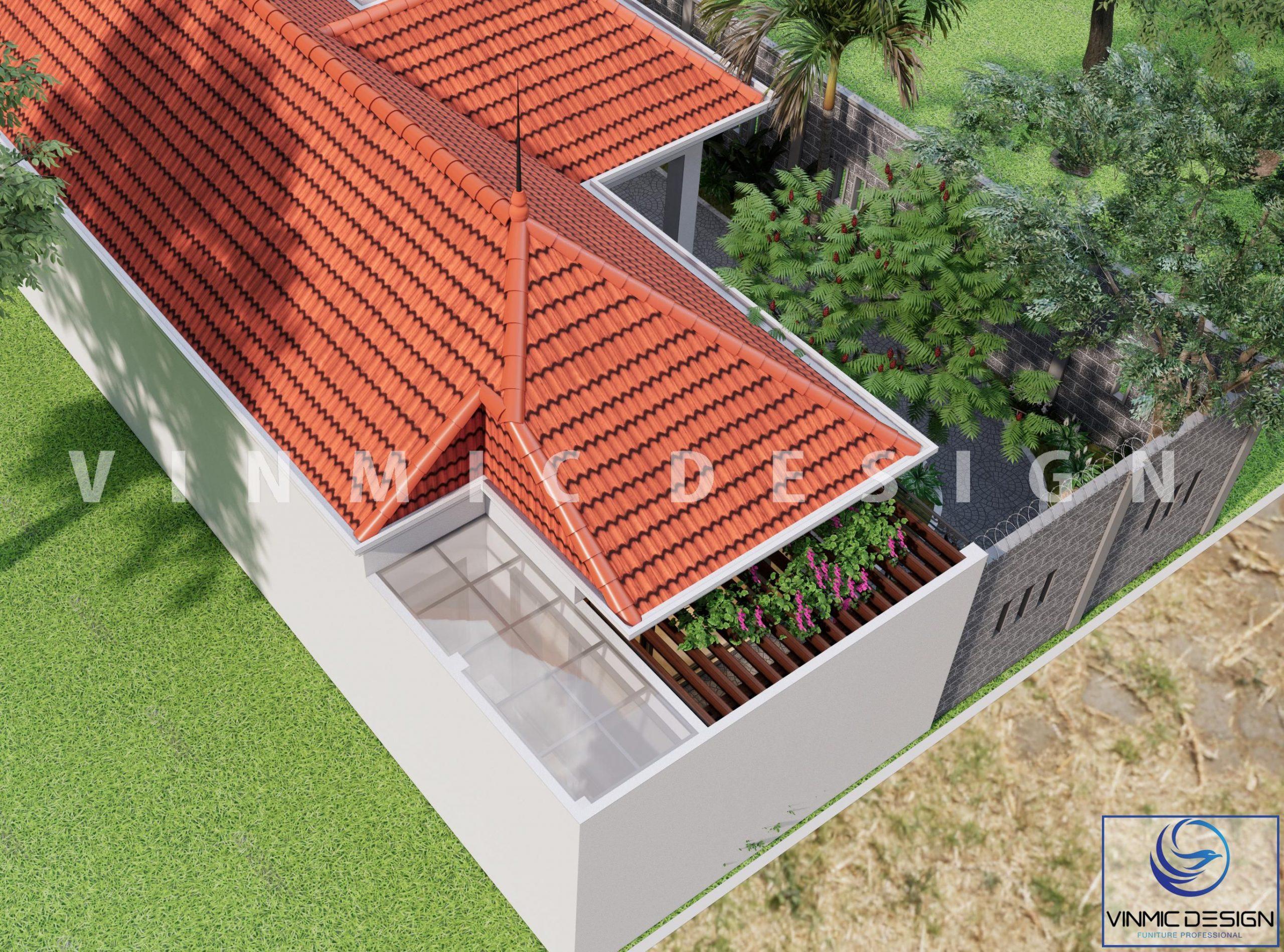 Từ trên nhìn xuống, căn nhà vườn được thiết kế theo hướng nhiều cây xanh, giúp không khí trở nên trong lành hơn