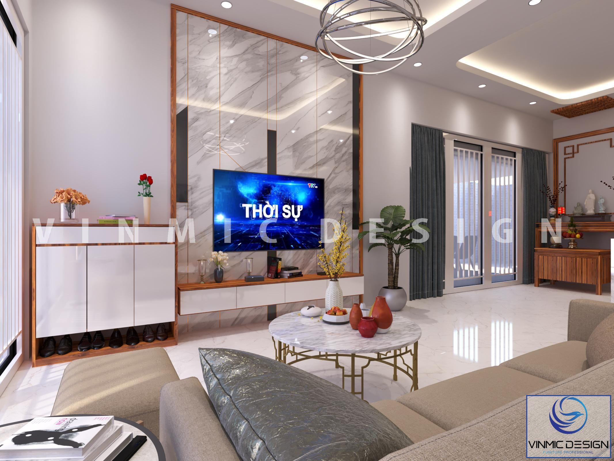 Thiết kế nội thất phòng khách sang trọng tại phố Kim Sơn - Ninh Bình