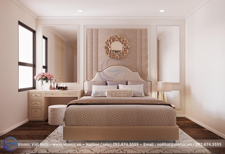 Ở một góc khác phòng ngủ phong cách tân cổ điển đẹp nhà chị Linh