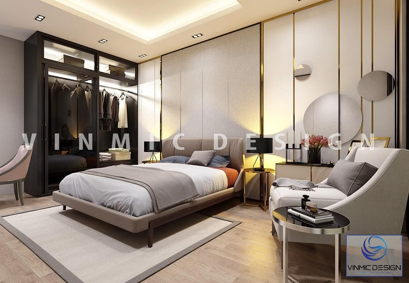 Không gian phòng ngủ với điểm nhần tủ áo phong cách