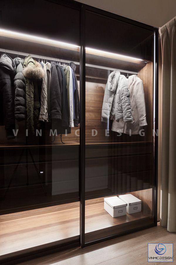 Thiết kế tủ áo nhỏ xinh với ánh sáng đèn led