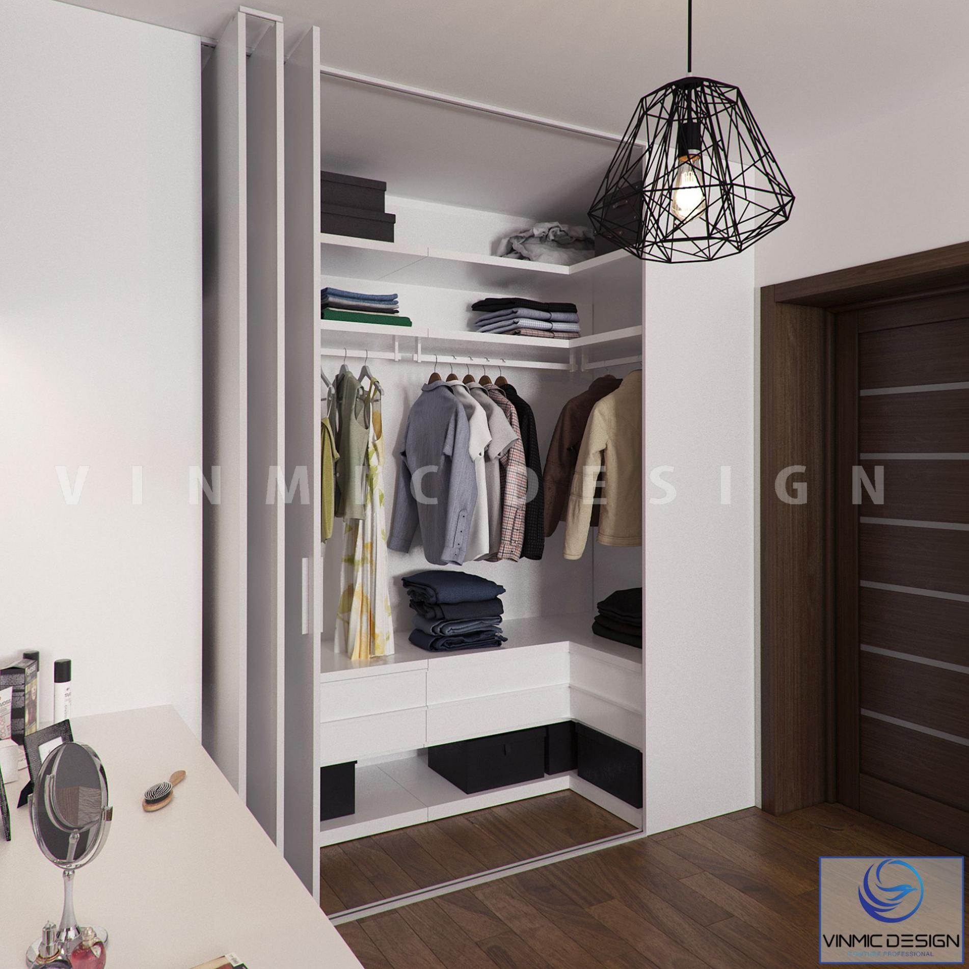 Thiết kế tủ áo hiện đại tông màu sáng