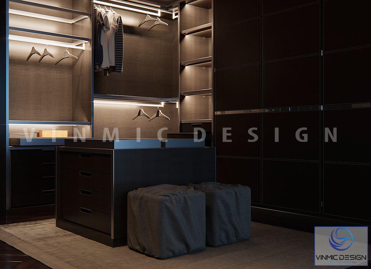 Thiết kế tủ áo với các đèn led là một điểm nổi bật