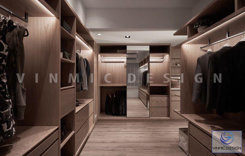 Không gian phòng thay đổ được thiết kế tủ áo tiện ích