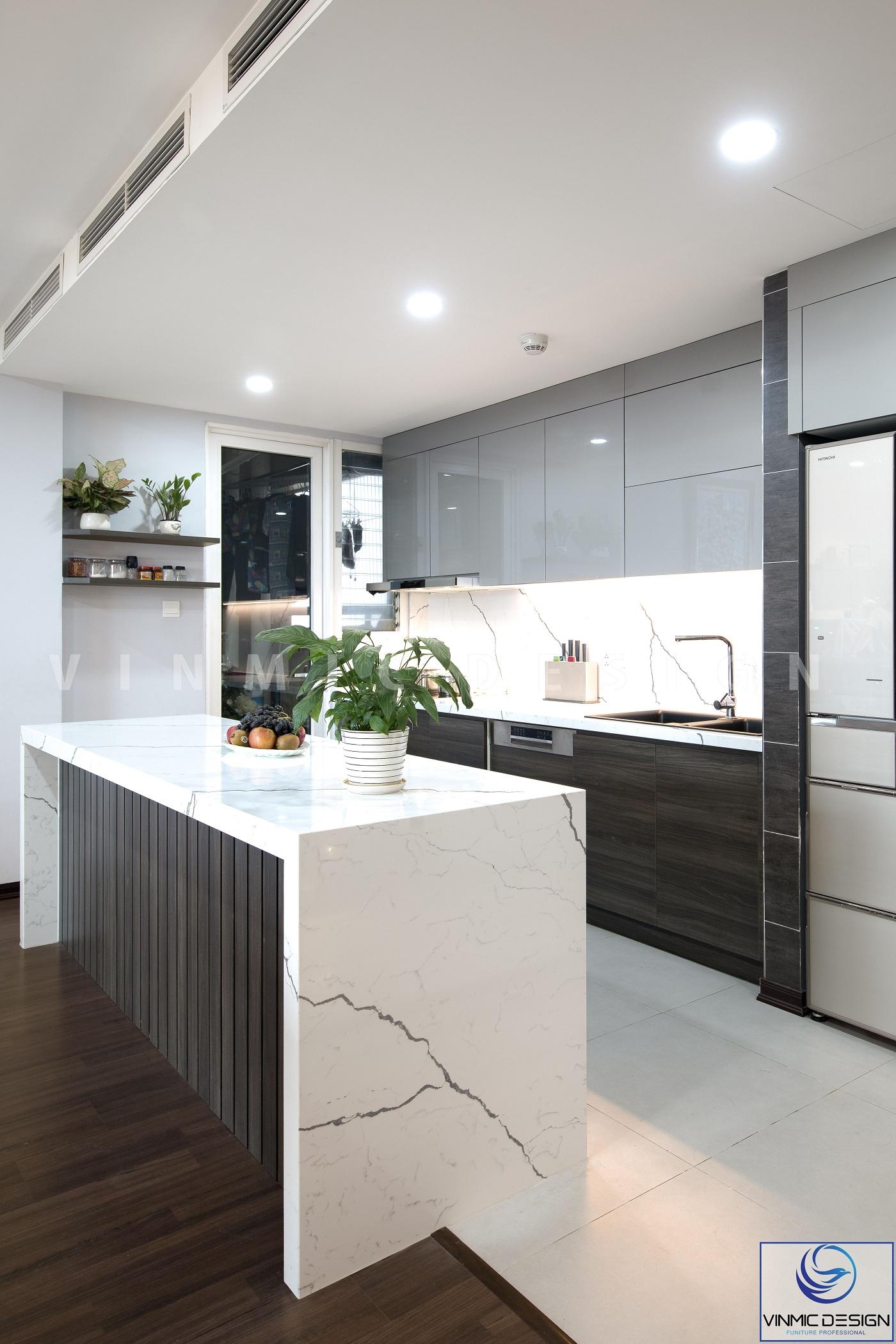Thi công tủ bếp với bàn đá nhân tạo