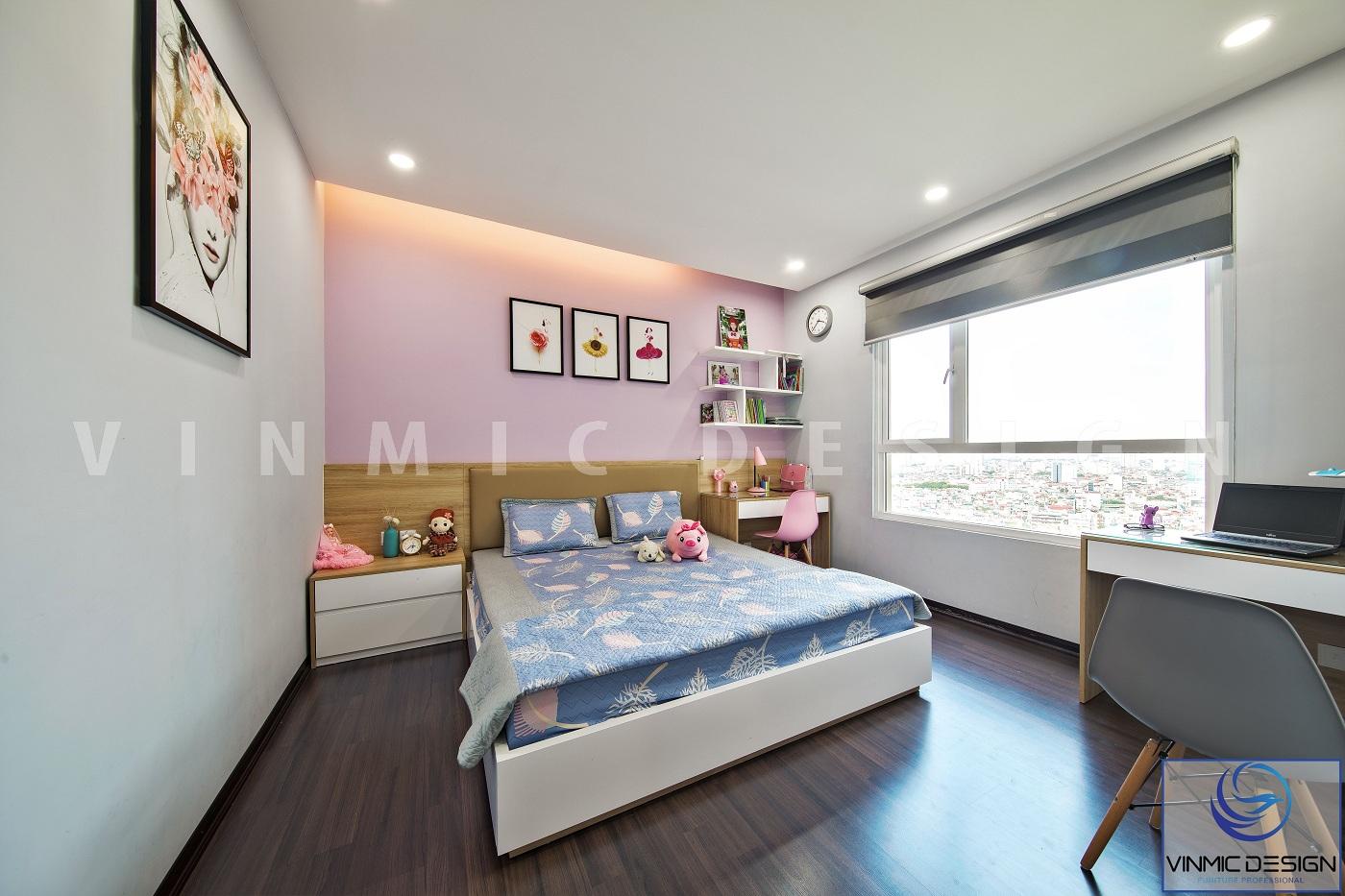 Thi công phòng ngủ con với màu sắc đẹp mắt, gọn gàng