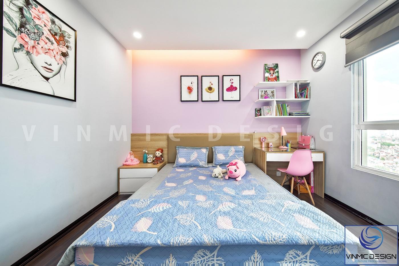 Thi công nội thất phòng ngủ con kết hợp đồ trang trí bố trí hợp lí