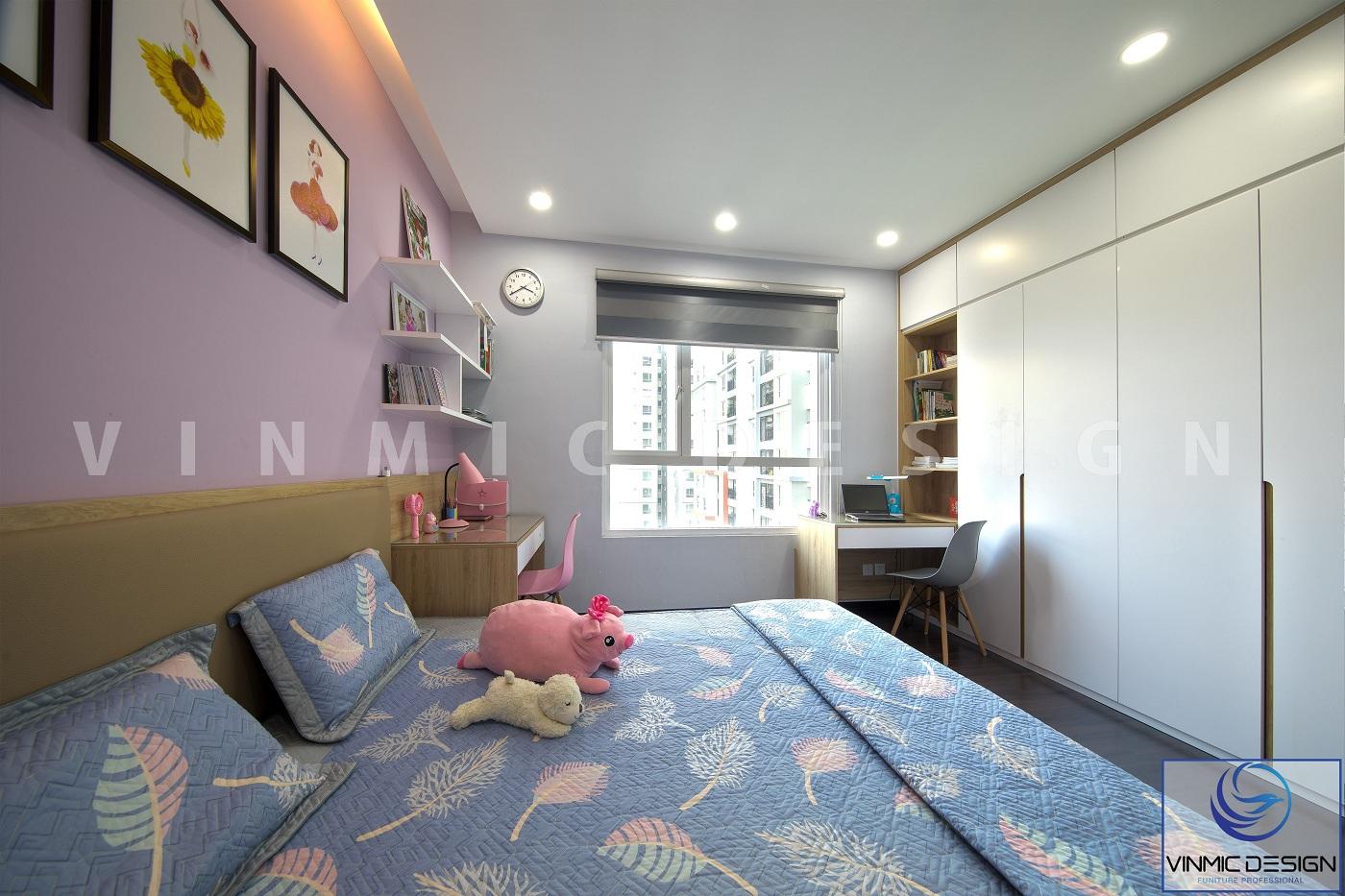 Thi công nội thất phòng ngủ  kết hợp tủ áo chất liệu MDF