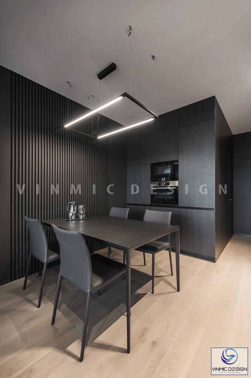 Thiết kế nội thất phòng bếp với bộ bàn ăn