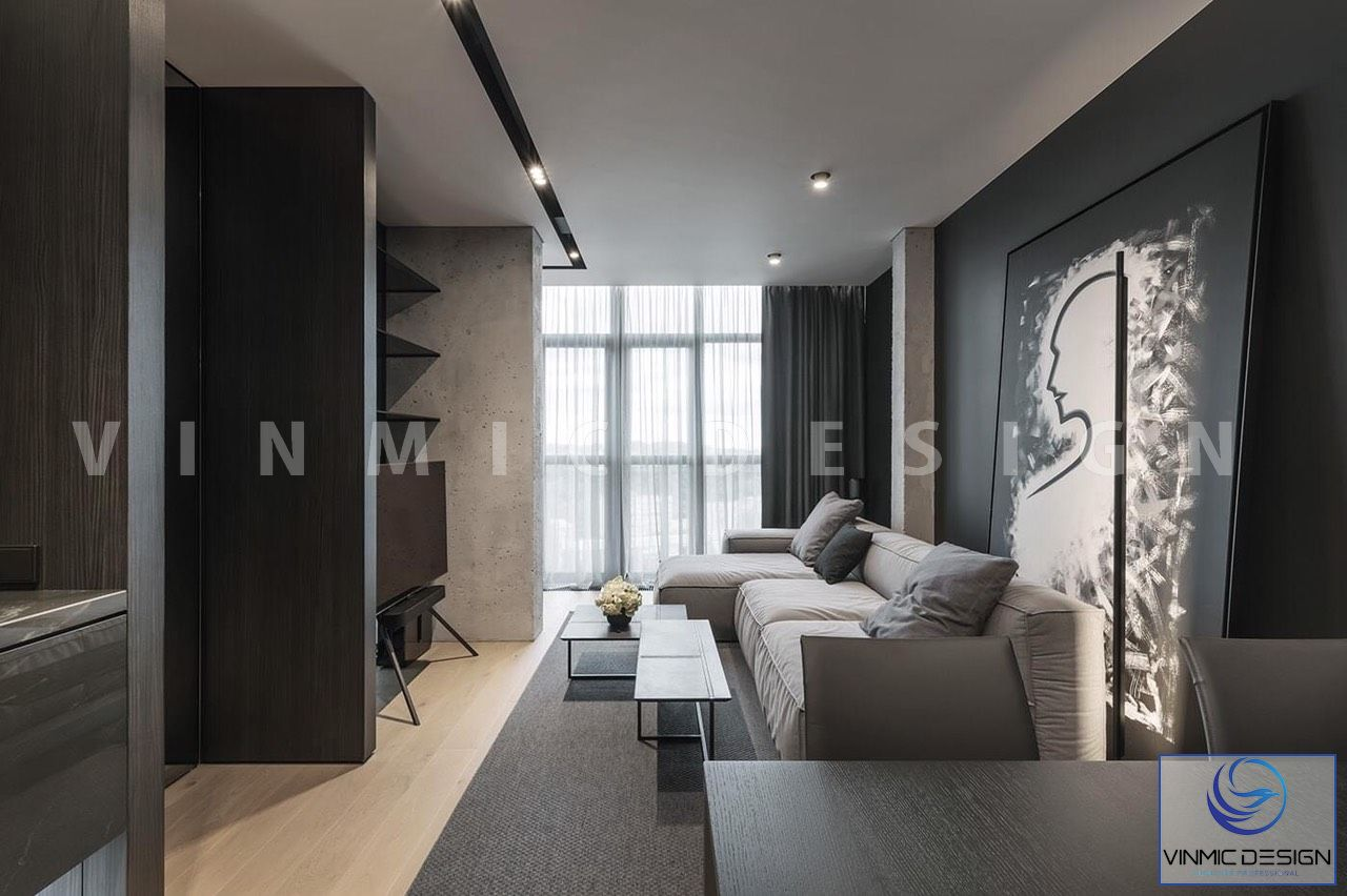 Thiết kế phòng khách mới lạ màu đen xám đặc biệt