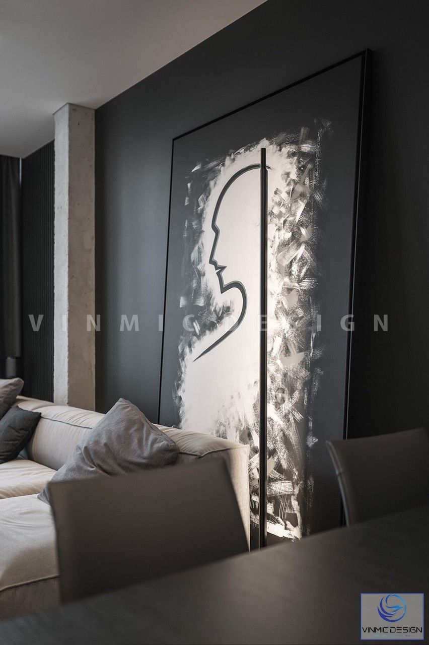 Thiết kế phòng khách nổi bật bức tranh sơn dầu