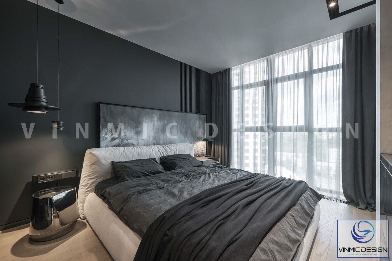 Thiết kế nội thất phòng ngủ với ánh sáng thiên nhiên từ cửa sổ lớn