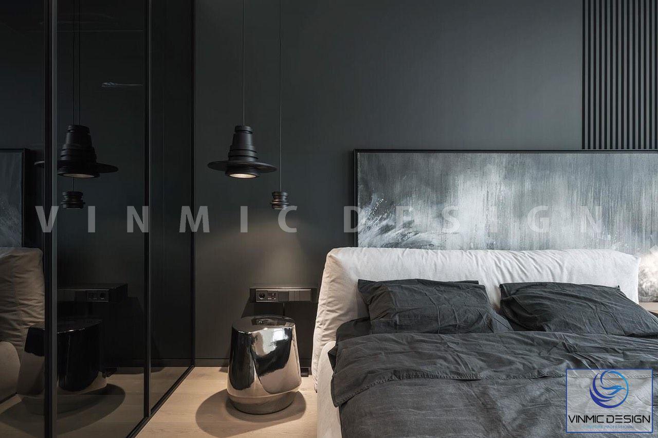 Thiết kế nội thất phòng ngủ kết hợp đèn ngủ phong cách mới lạ